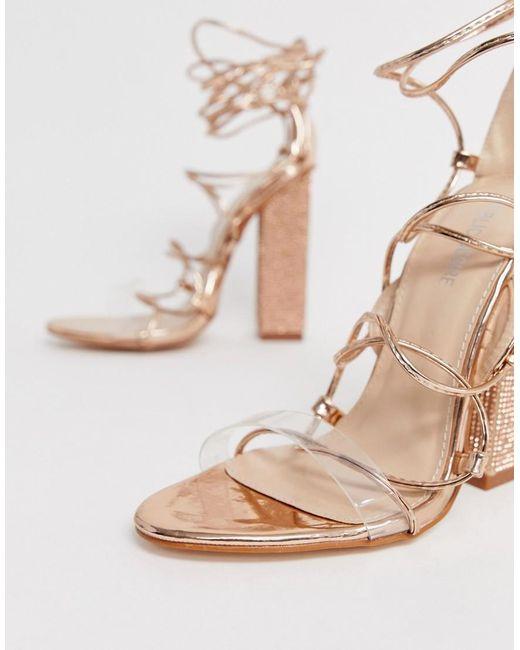 8e2290c2bab Public Desire Sparkle Rose Gold Diamante Clear Detail Tie Up Heeled ...