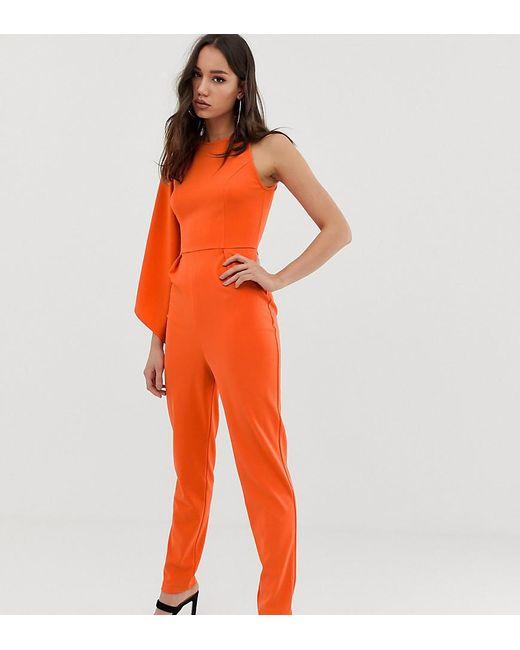 73bc58e83c ASOS - Orange Asos Design Tall One Shoulder Fluted Sleeve Jumpsuit - Lyst  ...
