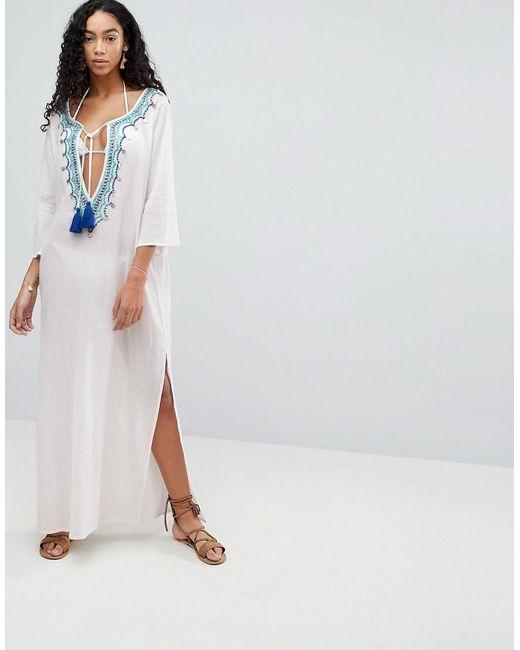 Liquorish - White Maxi Beach Dress With Embroidered Emblem - Lyst