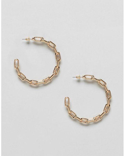 ASOS - Metallic Hoop Earrings In Hardware Chain Design In Gold - Lyst