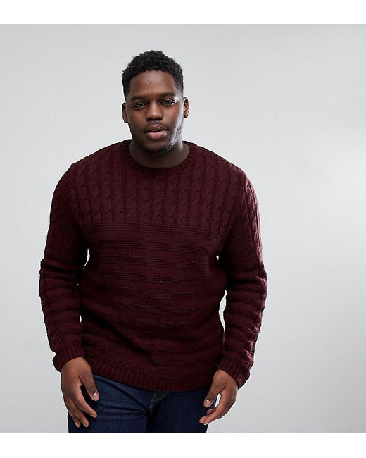 ASOS - Red Asos Plus Cable Knit Yoke Jumper In Burgundy for Men - Lyst