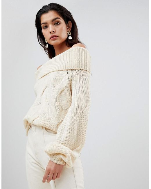 617c55ff7ea Vila - Natural Chunky Cable Knit Off Shoulder Sweater - Lyst ...