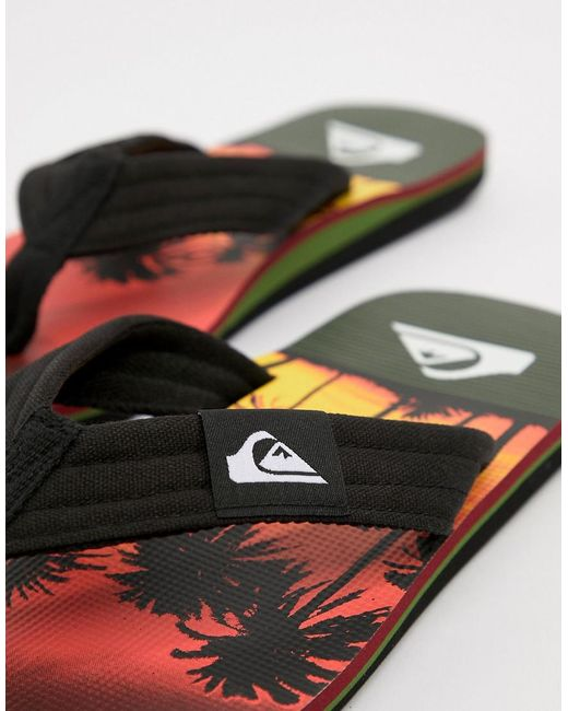Molokai Flip Flop In Sunset Palm Tree Print - Blk/orng Quiksilver 1dVEoxpfZ