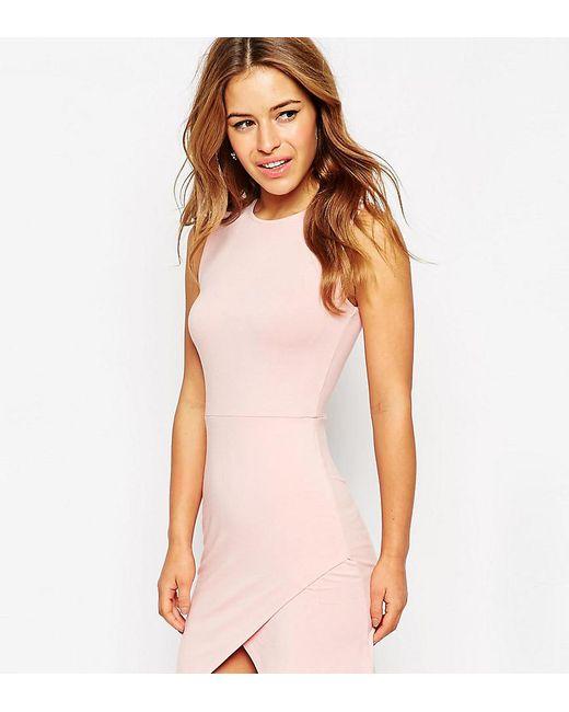 ASOS | Pink Asymmetric Sleeveless Bodycon Dress | Lyst
