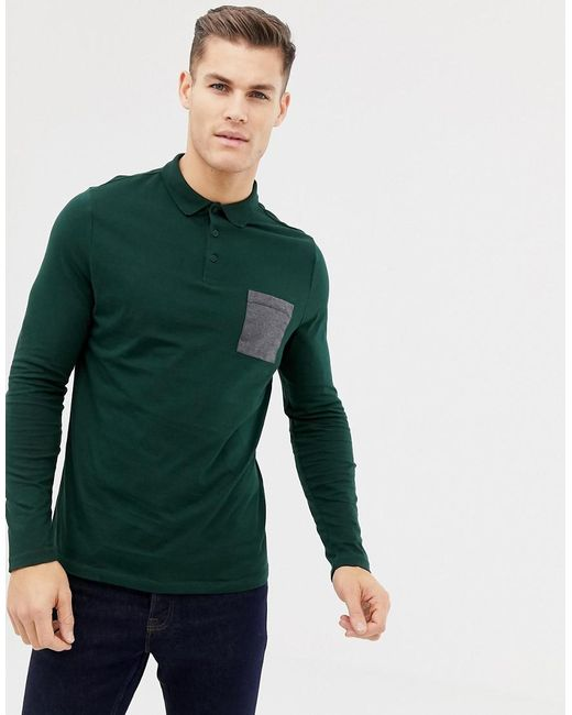0f254d8fc ASOS - Green Long Sleeve Polo Shirt With Contrast Pocket In Khaki for Men -  Lyst ...
