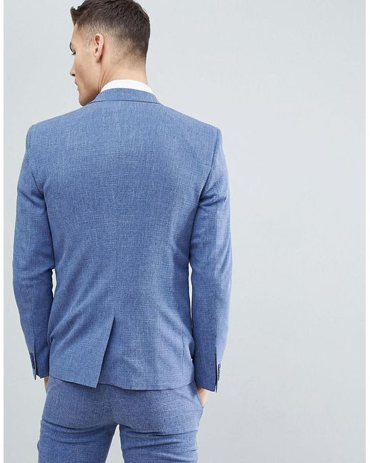 ddf952966835 ... ASOS - Wedding Skinny Suit Jacket In Provence Blue Cross Hatch With  Printed Lining for Men