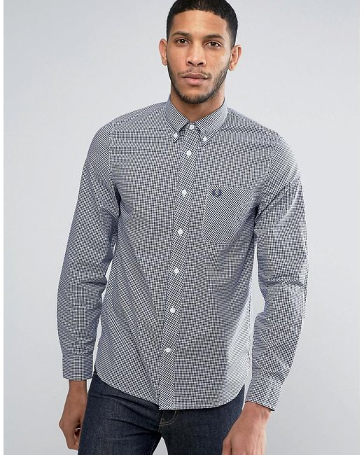 Fred perry shirt in slim fit gingham with long sleeves for Slim fit gingham check shirt