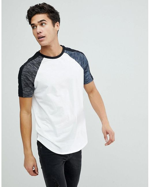 ASOS DESIGN - Asos Longline T-shirt With Curved Hem With Interest Fabric In White for Men - Lyst