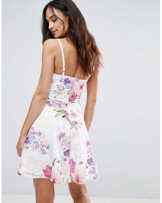 3b61aec242dbac ... Lipsy - Multicolor Printed Lace Skater Dress - Lyst