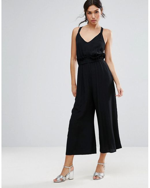 Jumpsuit with Frill and Wide Leg - Black Asos Clearance Online Cheap Real Cheap Online Shop Cheap Price Factory Outlet Extremely Sale Online With Mastercard QNlfJAFX