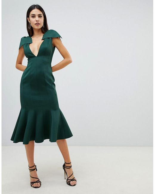 1d94e7221552 ASOS - Green Plunge Seam Detail Pephem Bodycon Midi Dress - Lyst ...