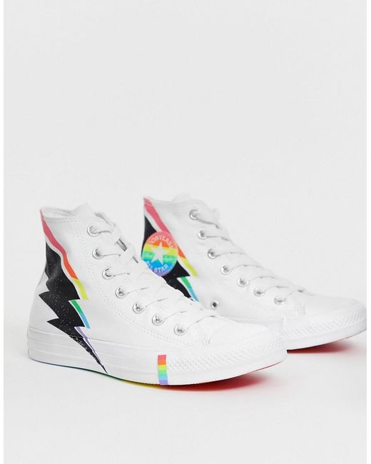 Women's Pride Chuck Taylor Hi All Star White And Rainbow Lightning Bolt Trainers