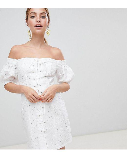 d91f04d16eb ASOS - White Asos Design Petite Lace Up Broderie Off Shoulder Mini Sundress  - Lyst ...