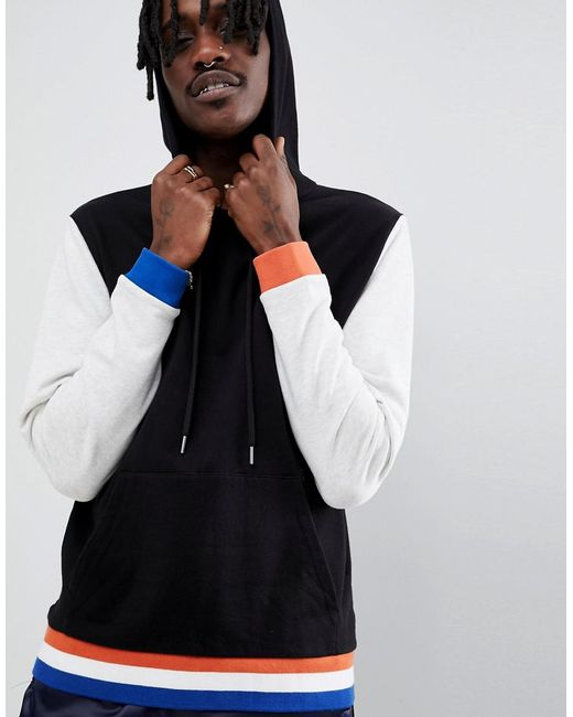ASOS DESIGN - Hoodie With Contrast Sleeves And Tipping In Black And Grey for Men - Lyst