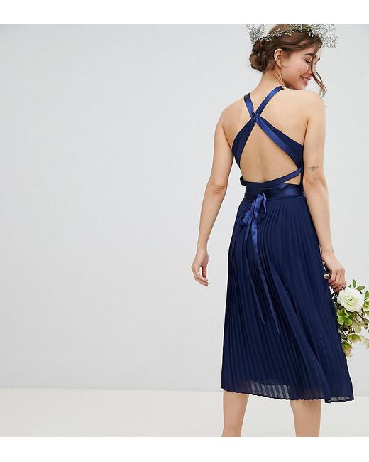 16c63ccbdb TFNC London - Blue Pleated Midi Bridesmaid Dress With Cross Back And Bow  Detail - Lyst ...
