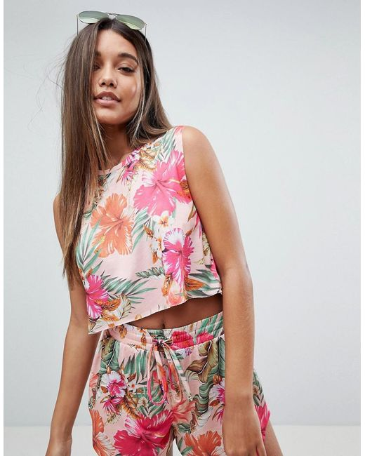 ASOS - Multicolor Tropical Tank Co Ord Tee - Lyst
