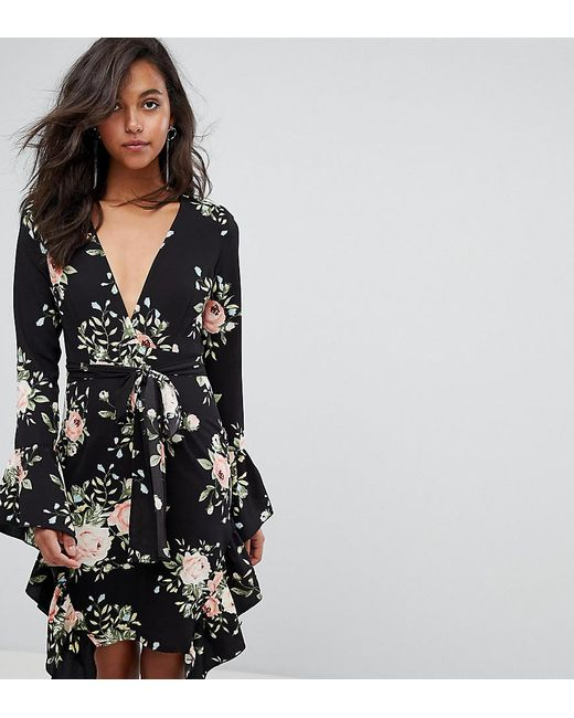 849e707f46ea PRETTYLITTLETHING - Black Floral Frill Detail Wrap Dress - Lyst  PRETTYLITTLETHING ...