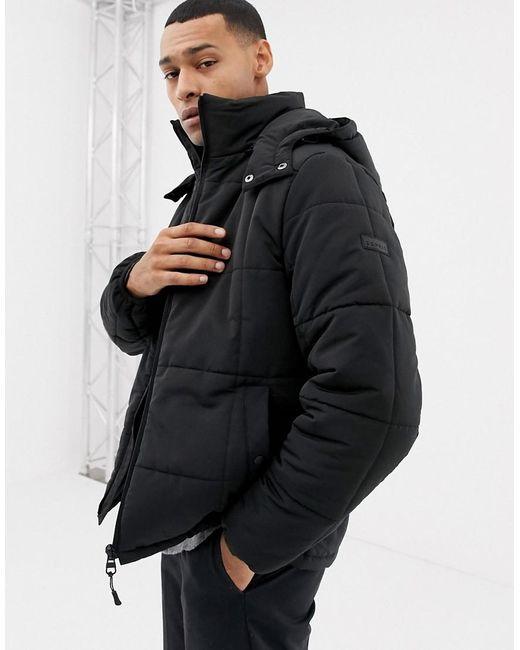 Esprit - Black Lightweight Zip Through Hooded Puffer Jacket for Men - Lyst