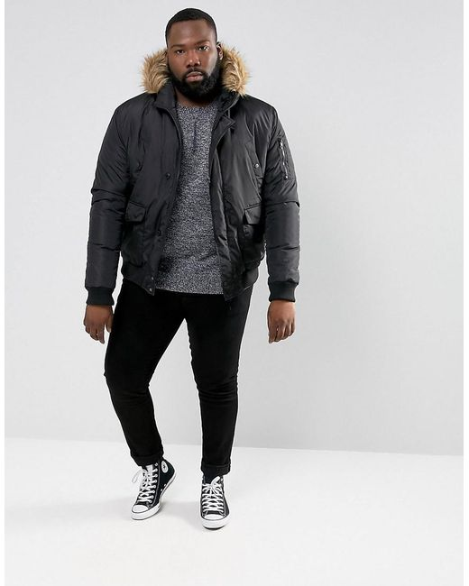 French connection Plus Short Padded Parka With Faux Fur Hood in ...