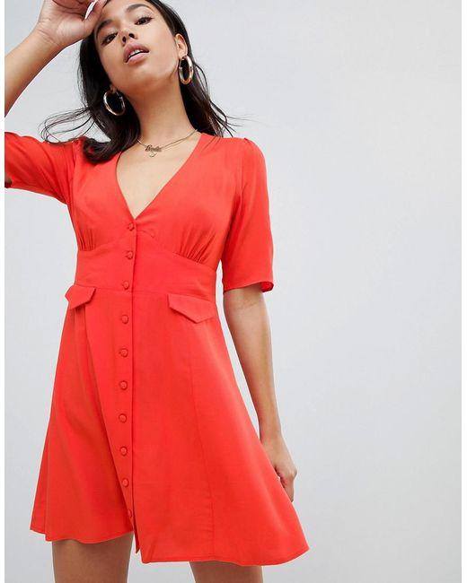 54ba9f6e3d56 ASOS - Red Button Through Mini Skater Dress With Pockets - Lyst ...