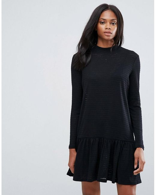 Pieces | Black Mary High Neck Skater Dress | Lyst