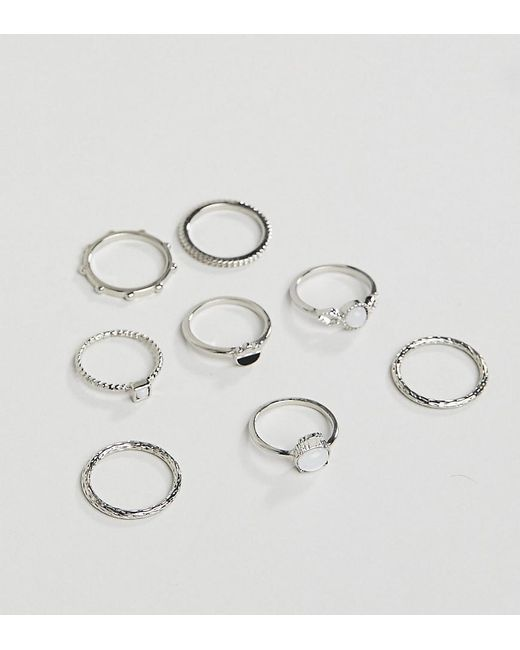 ASOS - Metallic Asos Design Curve Pack Of 8 Rings With Faux Moonstone And Engraved Detail In Silver - Lyst