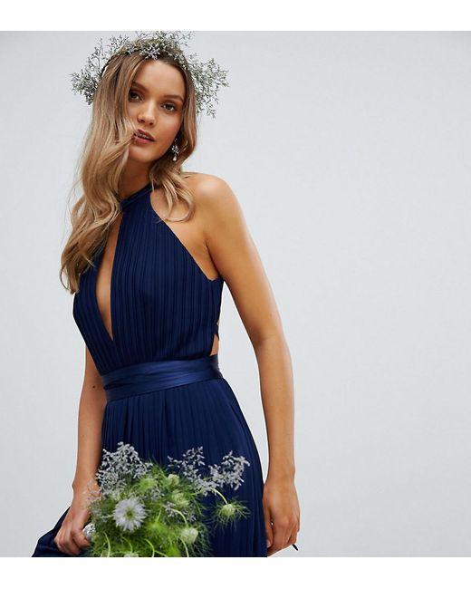 d204fefad611 TFNC London - Blue Pleated Midi Bridesmaid Dress With Cross Back And Bow  Detail - Lyst ...