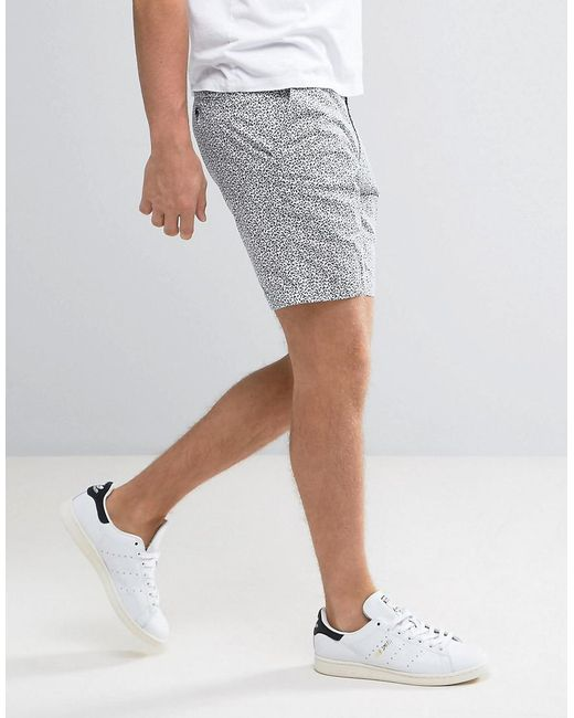 ... ASOS | White Tailored Skinny Beach Shorts With Floral Ditsy Print for  Men | Lyst