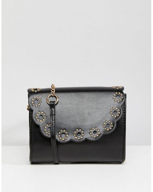 ASOS - Black Studded Scallop Cross Body Bag - Lyst