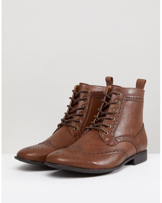 2014 new cheap online ASOS Wide Fit Brogue Boots In Tan Faux Leather free shipping top quality with paypal low price best sale for sale 5mH4UG