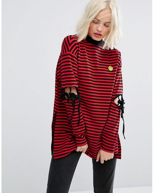 Lazy Oaf | Red Long Sleeve Striped T-shirt With Tie Up Elbows And Tiny Unhappy Face | Lyst