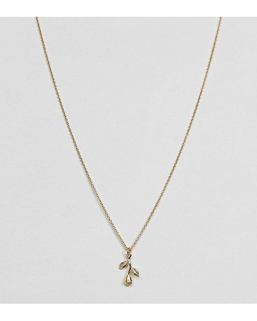 ASOS - Metallic Gold Plated Sterling Silver Hanging Rose Charm Necklace - Lyst