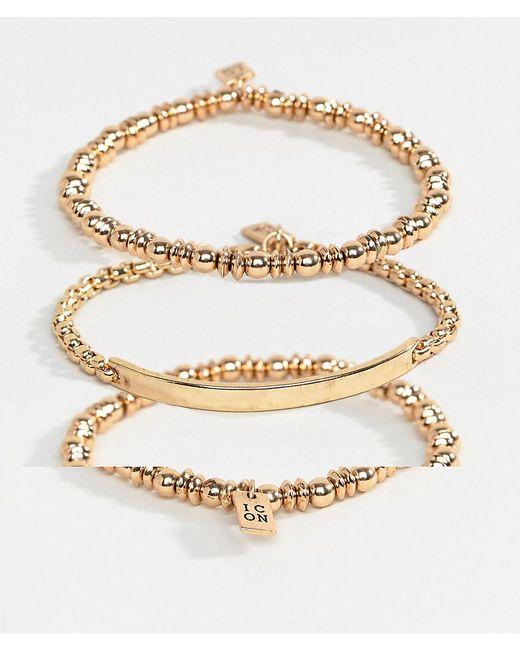 Icon Brand - Metallic Gold Chain Bracelets In 3 Pack for Men - Lyst