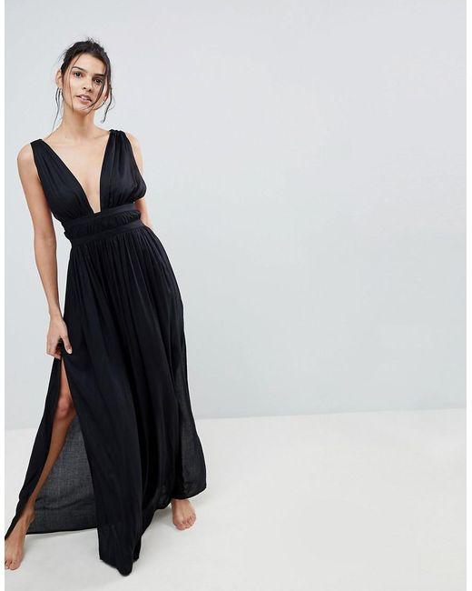 DESIGN Grecian plunge maxi woven beach dress - Black Asos Cheap Big Sale OdjHZDNIpE