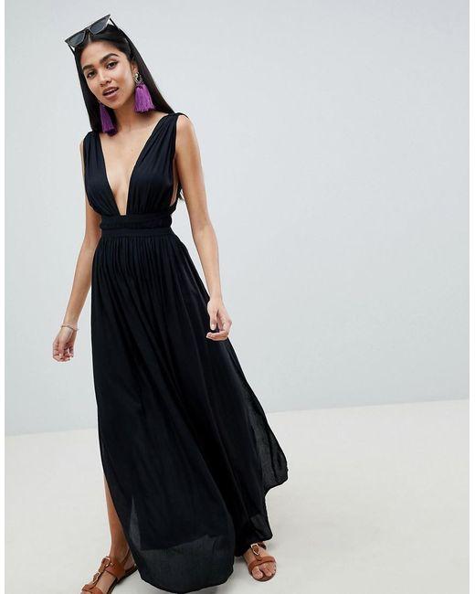 Lyst Asos Grecian Plunge Maxi Woven Beach Dress In Black