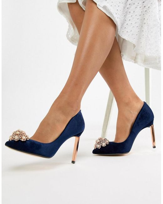 4eb0c8319 Ted Baker - Blue Pointed Embellished High Heels - Lyst ...