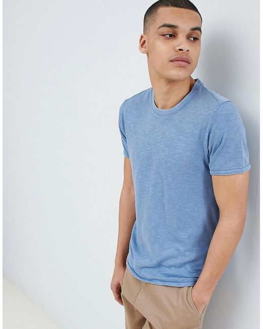 SELECTED - Blue Stripe T-shirt In Organic Cotton for Men - Lyst