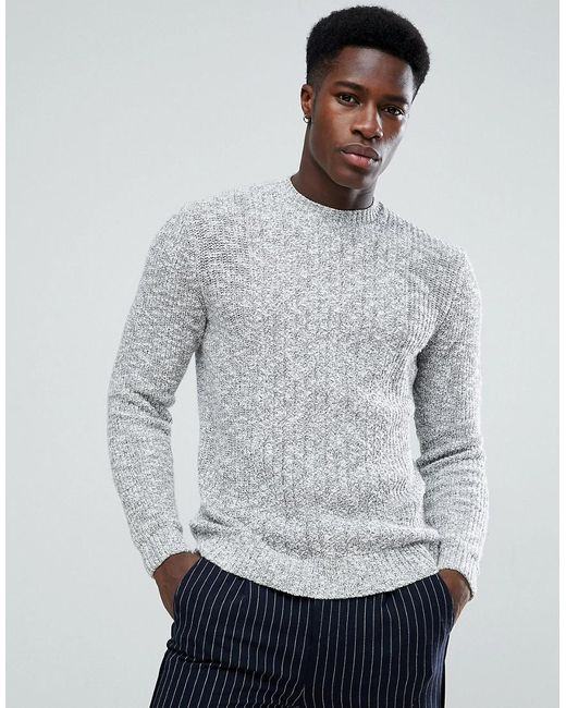 Mango - Man Chunky Knit Sweater In Gray for Men - Lyst