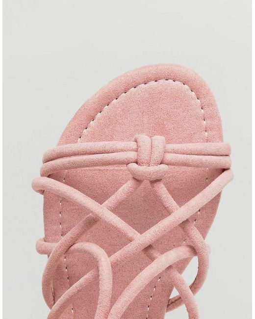 FACTOR Tie Leg Flat Sandals - Pink Asos Best Supplier Cheapest Price Online Manchester Cheap Price Cheap Buy Authentic NTmKf