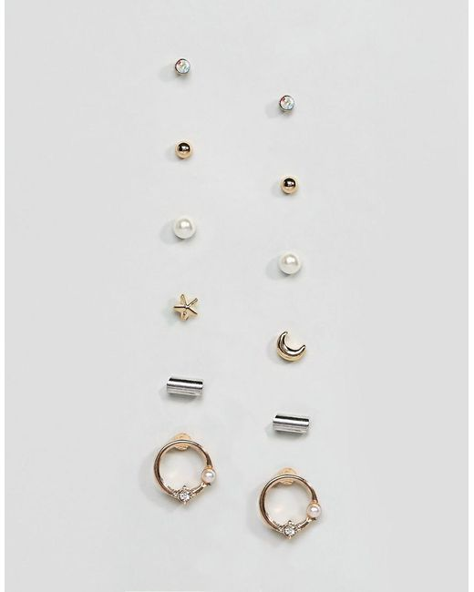 ASOS | Multicolor Pack Of 6 Mixed Fine Earrings | Lyst
