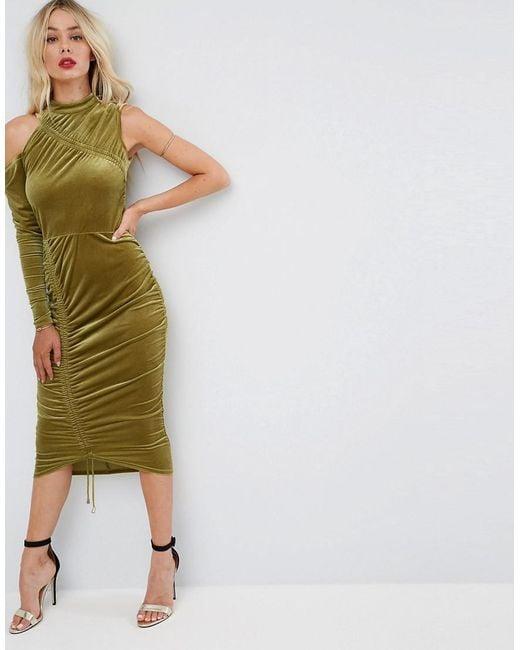 ASOS | Green High Neck Ruched Velvet Midi Bodycon Dress | Lyst