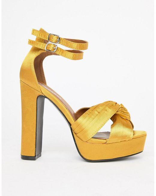Glamorous - Metallic Satin Chunky Heeled Sandals - Lyst