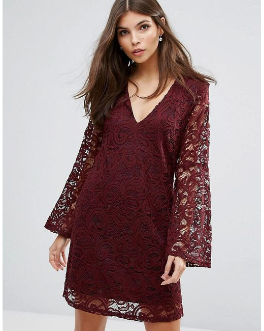 AX Paris | Red Lace Dress With Fluted Sleeves | Lyst