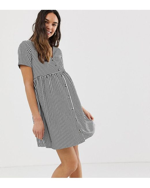 6e07ee91ac ASOS - Multicolor Asos Design Maternity Mini V Neck Button Through Smock  Dress In Stripe ...