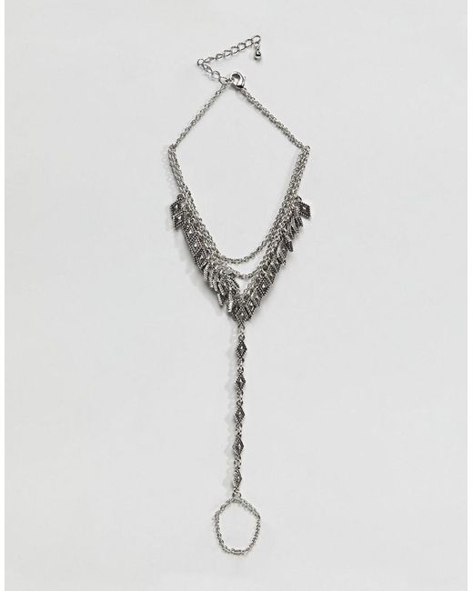 ASOS - Metallic Engraved Diamond Pendant And Chain Foot Harness - Lyst