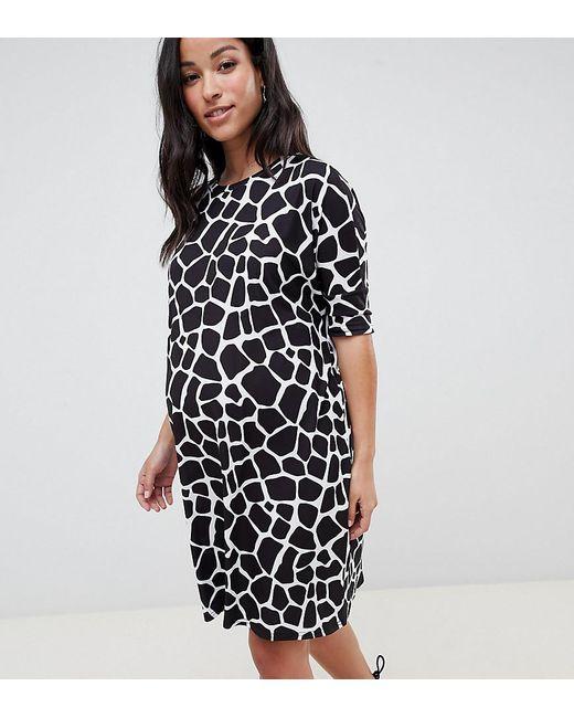 ASOS - Black Asos Design Maternity T-shirt Dress In Mono Animal Print -  Lyst ... d5a7bc9ca