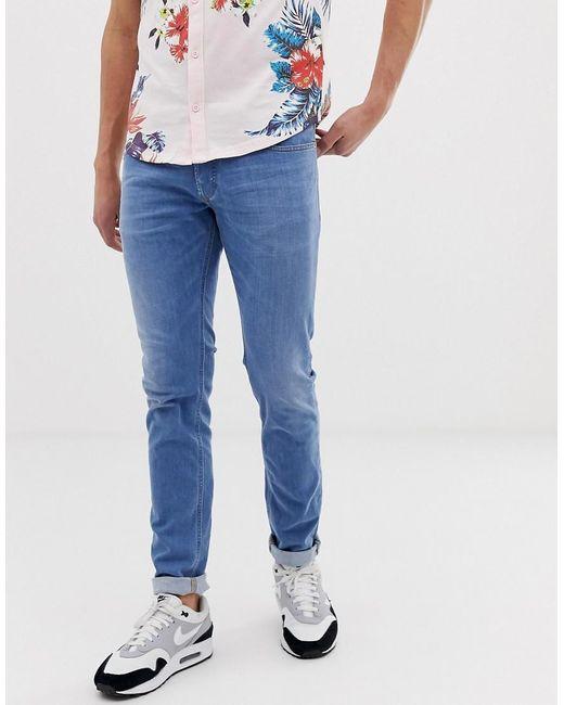 e30d0bf7 ... DIESEL - Blue Sleenker Skinny Fit Jeans In 086ak Light Wash for Men -  Lyst