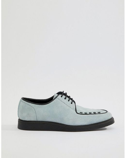 DESIGN Lace Up Creeper Shoes In Light Blue Suede - Blue Asos Clearance Outlet Store Free Shipping 2018 New Sneakernews For Sale ozEckKHbuq
