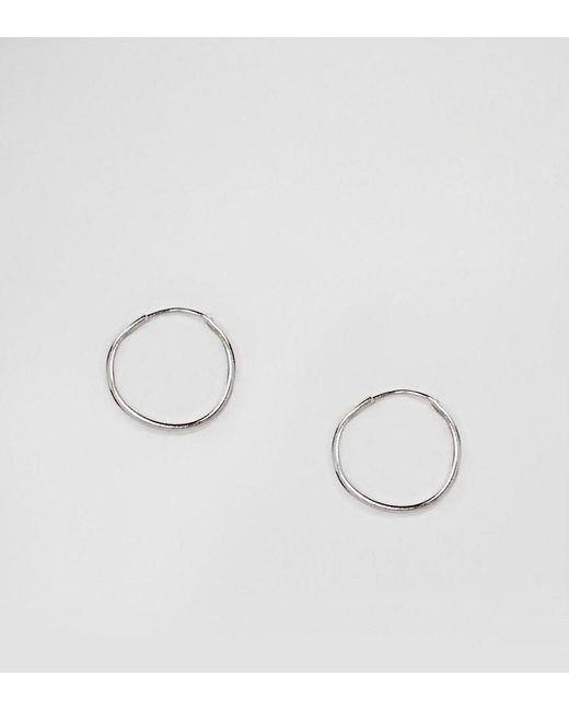 ASOS - Metallic Sterling Silver 9mm Hoop Earrings - Lyst