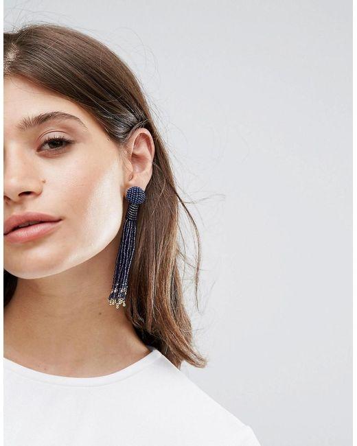 Pieces | Metallic Beaded Drop Tassle Earrings | Lyst